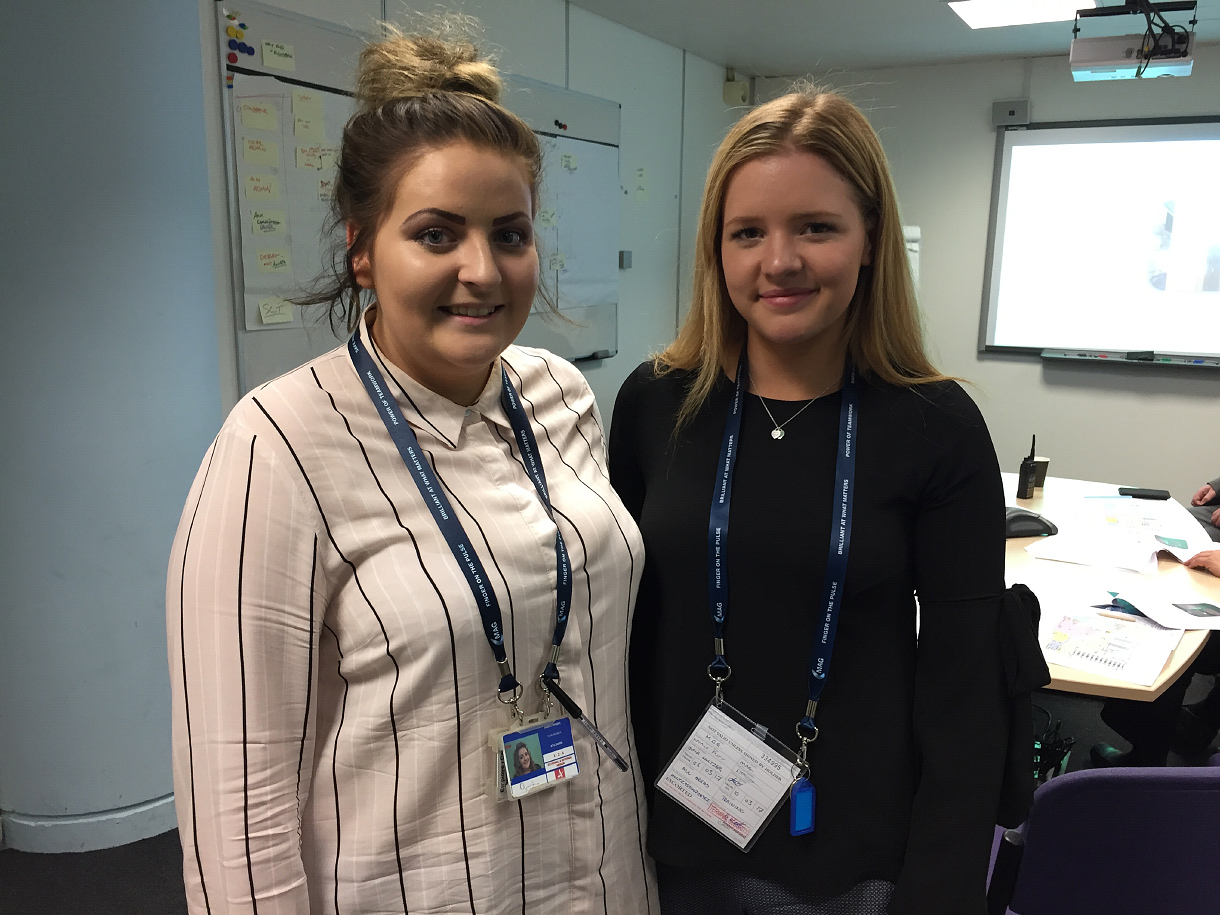 Stansted's latest Apprentices. Amber Wright from Takeley and Julia Hultzer from Newport started their training to become Customer Service Ambassadors on Monday 6th February 2017